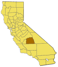 Map of California highlighting Tulare County