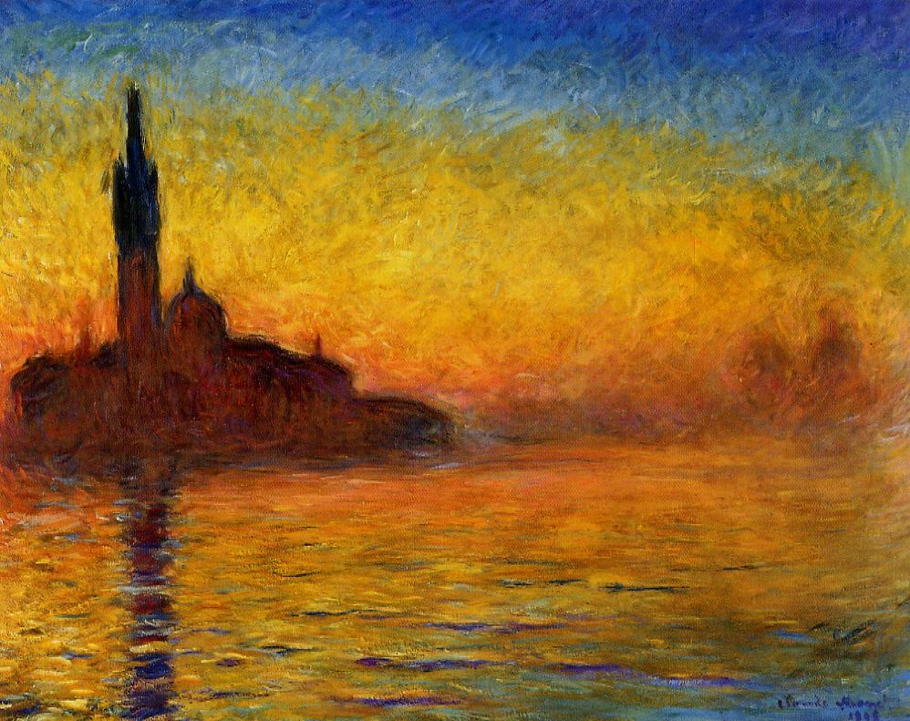 File claude monet twilight wikimedia commons for Monet paintings images