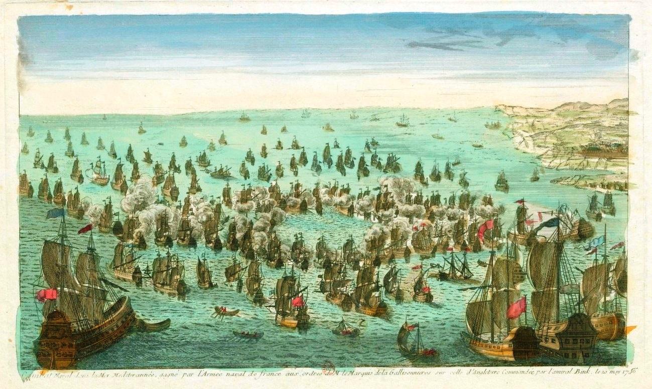 Combat naval devant Minorque en mai 1756 entre Francais et Anglais.jpg