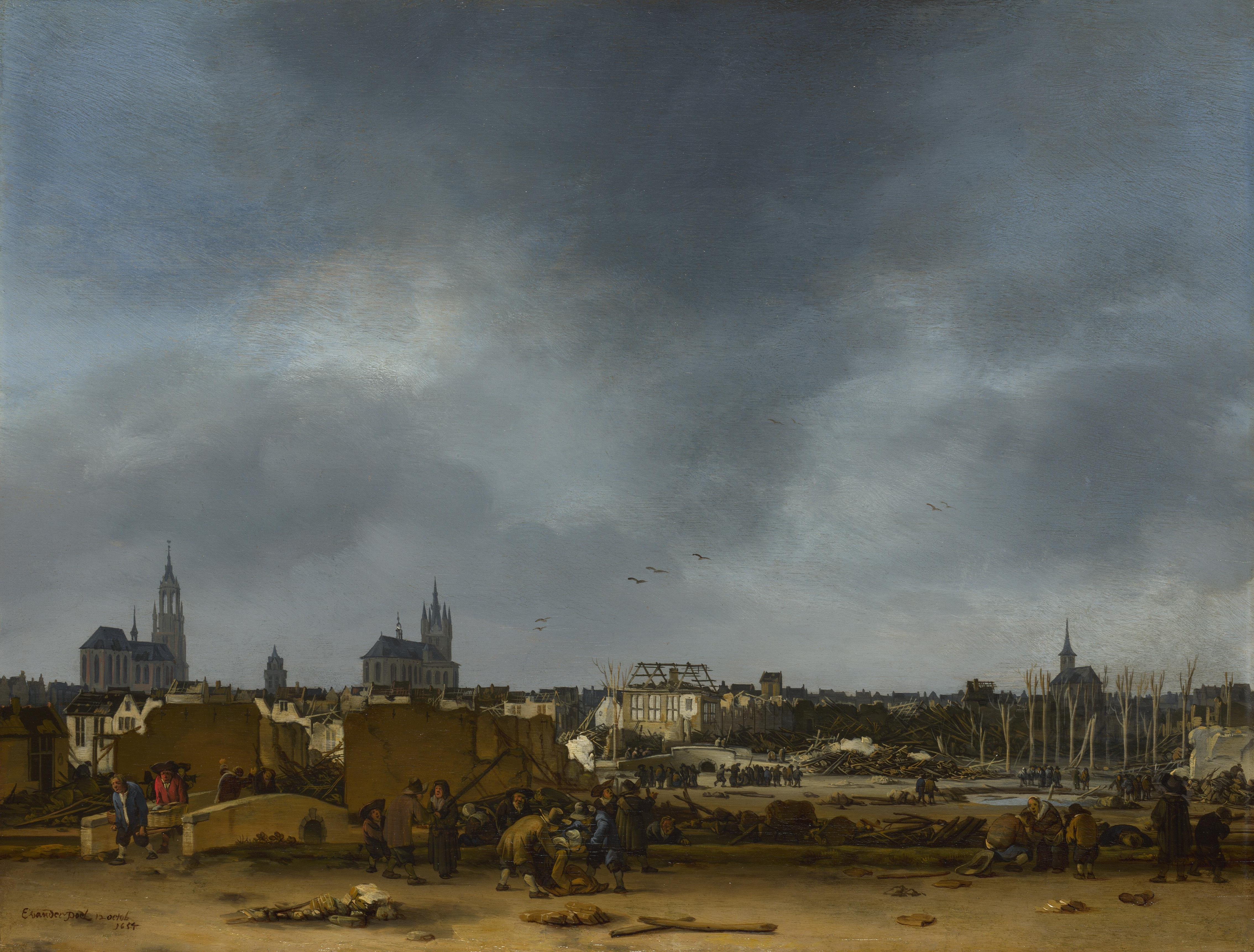View of Delft after the Delft Explosion of 12 October 1654, in which most of the city was damaged