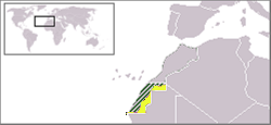 Territory claimed bi the SADR, viz. Western Sahara.  The majority (marked green) is currently administered bi Morocco; the remainder (yellae) is named the Free Zone & administered bi the SADR.