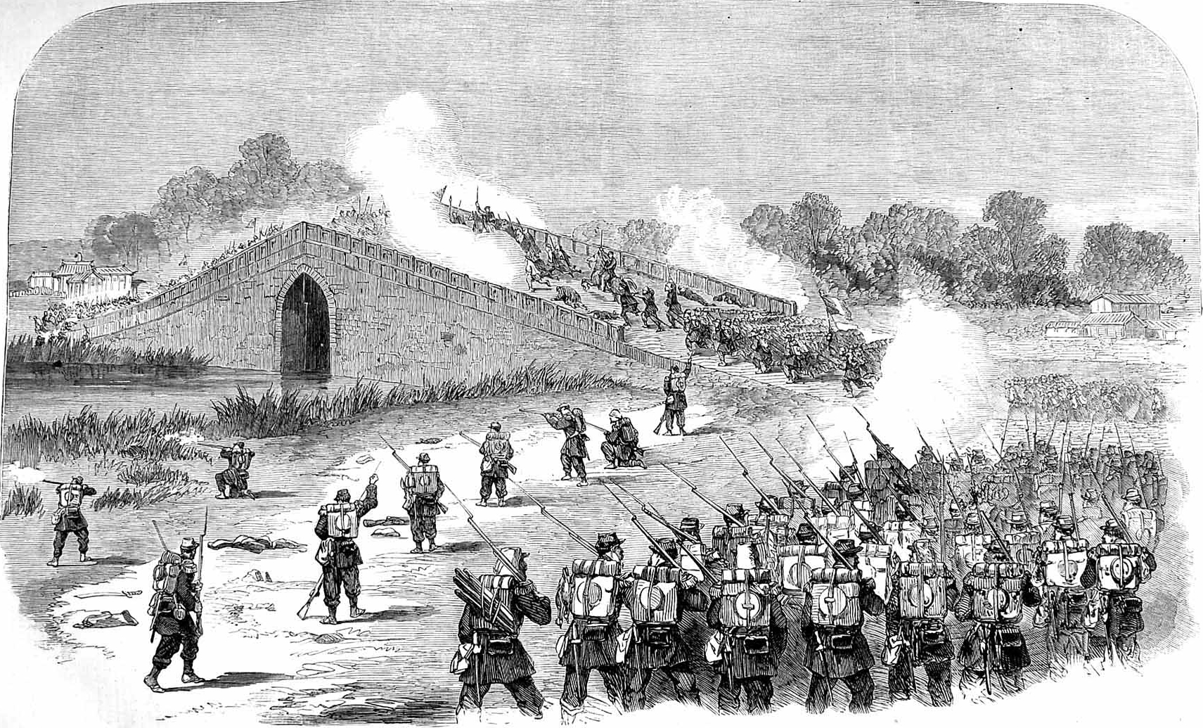 File:French attack the bridge, pa-li-chian, 1860.jpg