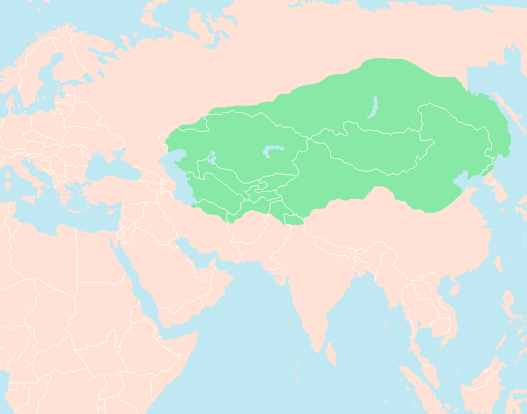 Mongol Empire in 1227 at Genghis Khan's death