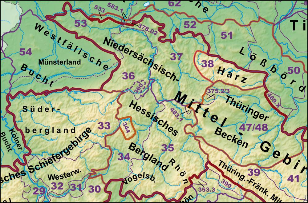 Mittelgebirge Deutschland Karte.Liste Der Naturräumlichen Einheiten Im Eichsfeld Wikipedia