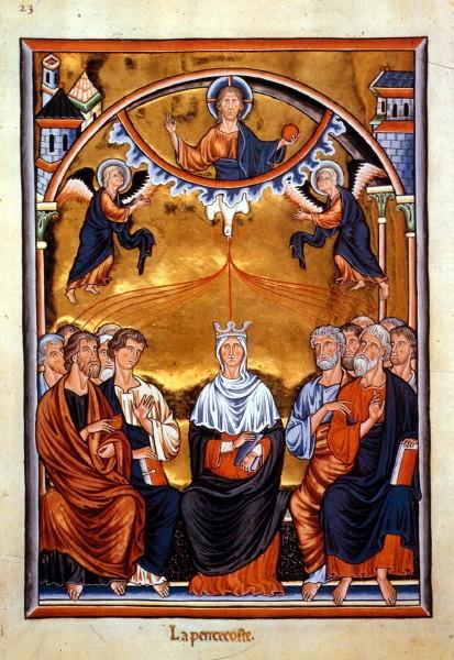 Der Psalter, hier eine Pfingstdarstellung im frühgotischenIngeborg-Psalter[6] (Frankreich, um 1200), gehörte zu den besonders kostbar ausgestatteten liturgischen Buchtypen.