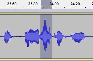 "The frequency of the ess in the spoken word ""instantly"" on an audio editing timeline"