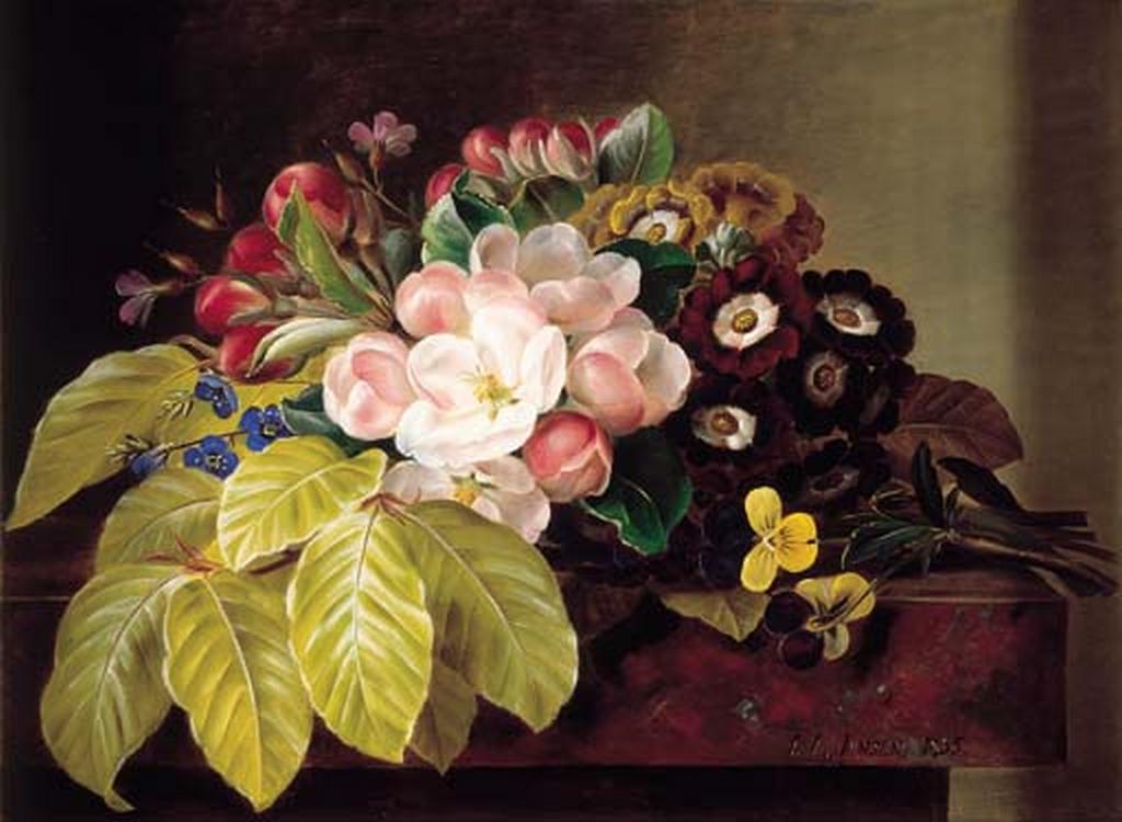 J.L. Jensen - Violer, æbleblomster, gloxinia, floks og aurikler på marmor - 1835.png
