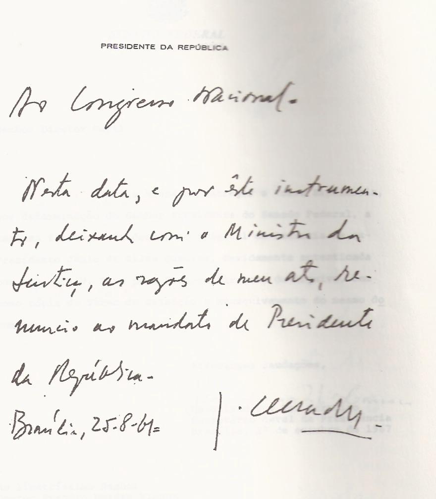 Carta Renúncia de Jânio Quadros – Wikipédia, a enciclopédia livre