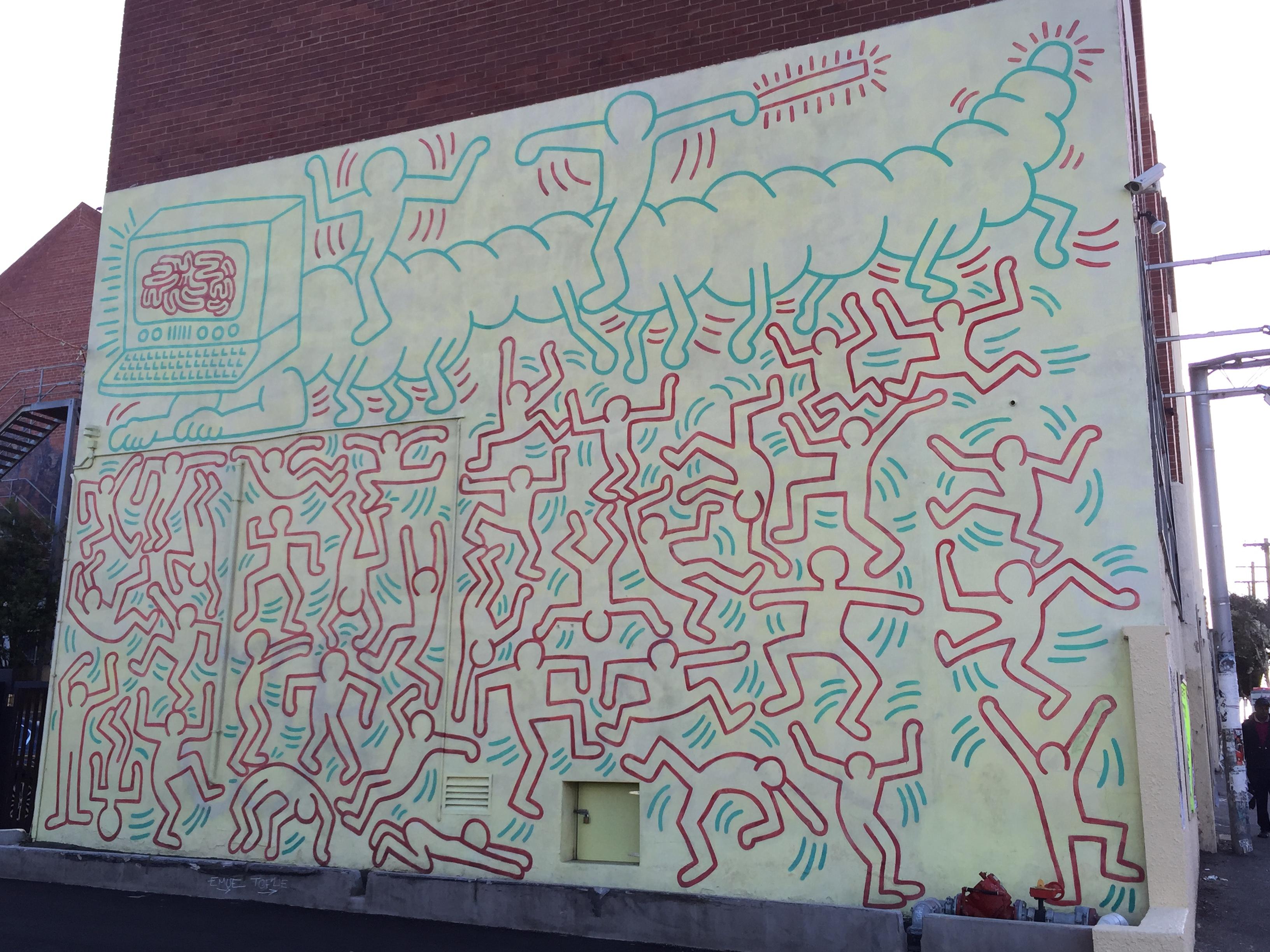 Mural von Keith Haring erstellt 1984 in Melbourne, Australien (???)