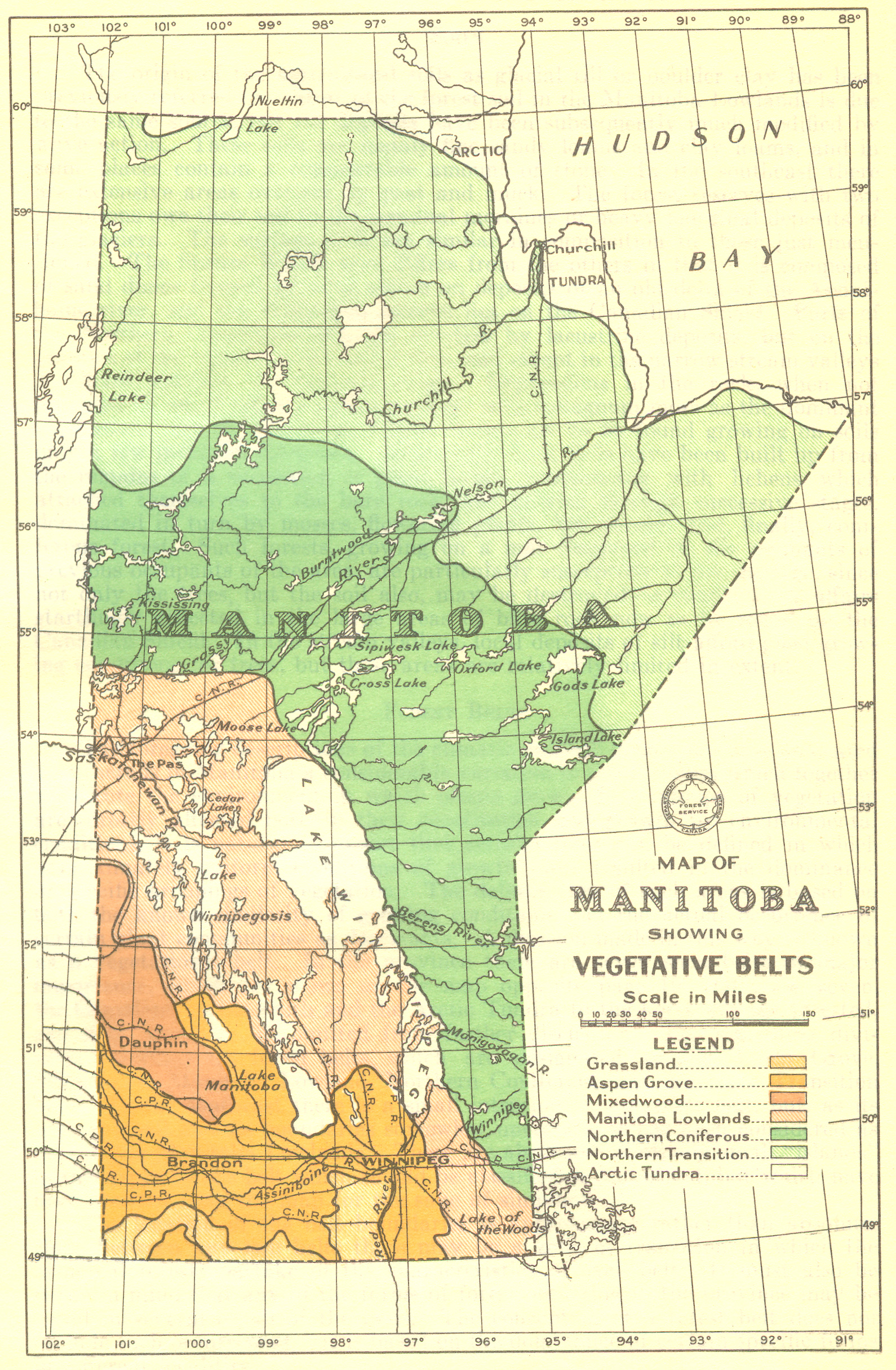 FileMap Of Manitoba Showing Vegetative Belts Jpg - Map of manitoba