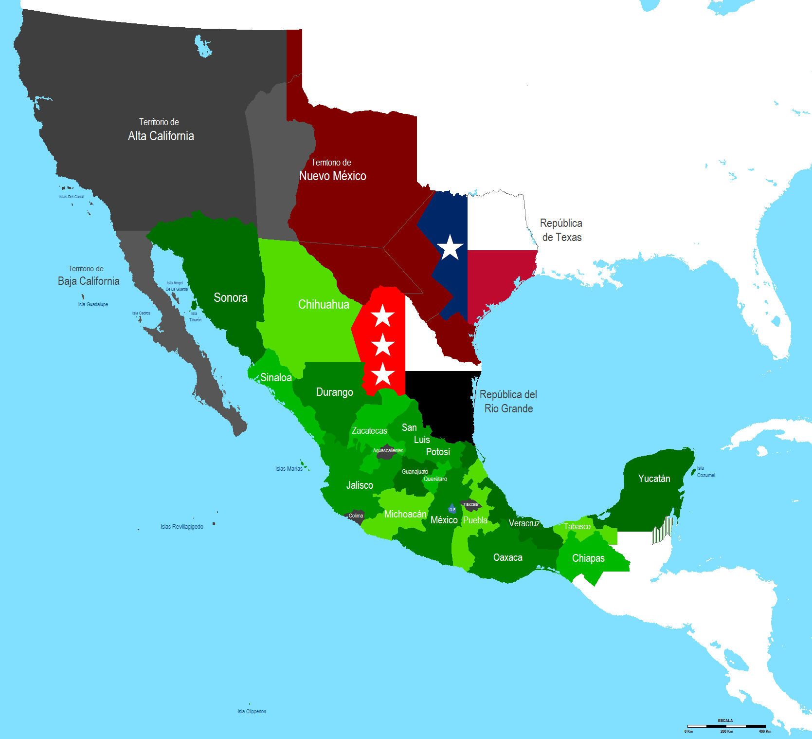 Territorial Evolution Of Mexico Wikipedia - Map of the us in 1840