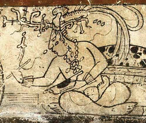 Fig. 1: Tonsured Maize God as a patron of the scribal arts, Classic period Maya maize god.jpg