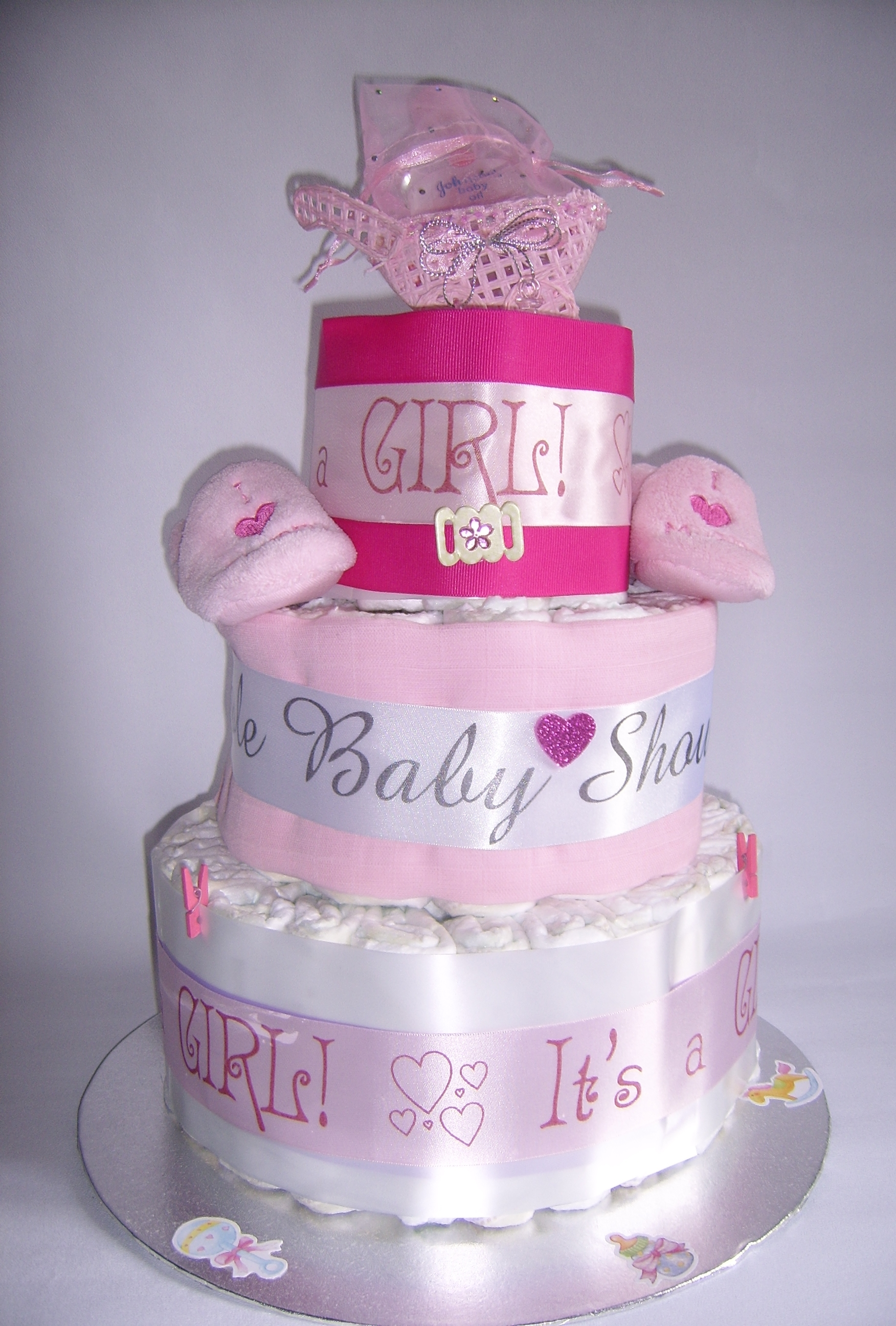 Description Memorable Baby Showers Girl nappy cake.JPG