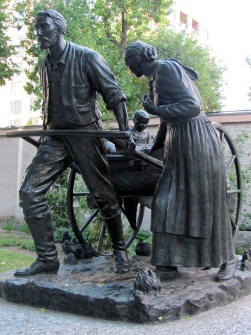 The Handcart Pioneer Monument, by Torleif S. Knaphus, located on Temple Square in Salt Lake City, Utah