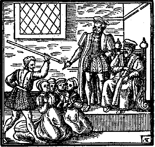 An image of James presiding over the North Berwick Witch Trials, taken from his book Daemonologie.
