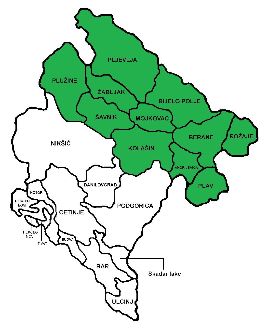 Bar Montenegro Karte.File North Montenegro Png Wikimedia Commons