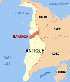 Map of Antique showing the location of Barbaza