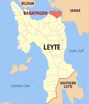 Map of Leyte showing the location of Babatngon