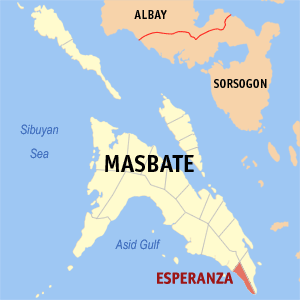 Map of Masbate showing the location of Esperanza