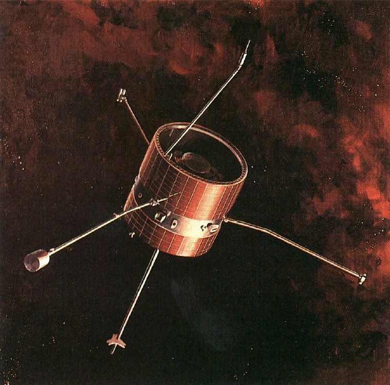 A barrel-like space probe with several antennae floats through red-black space.