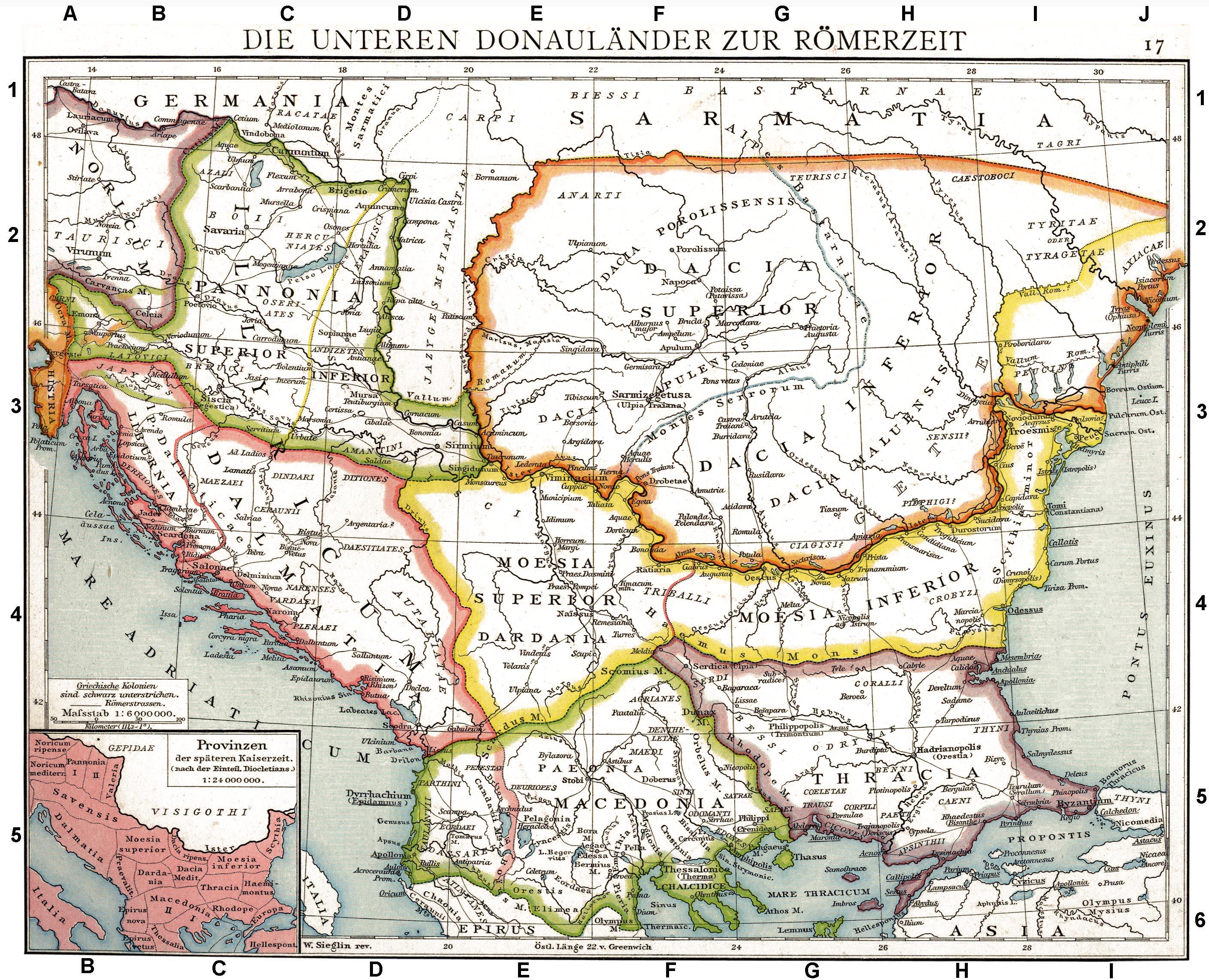 Provincias de Ilírico, Macedonia, Moesia, Panonia y Tracia en tiempos de los romanos. Mapa de Droysens Historical Atlas, 1886.