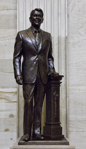 Bronze statue of former President Ronald Reaga...