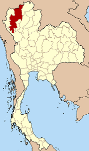 Map of Thailand highlighting Chiang Mai Province}