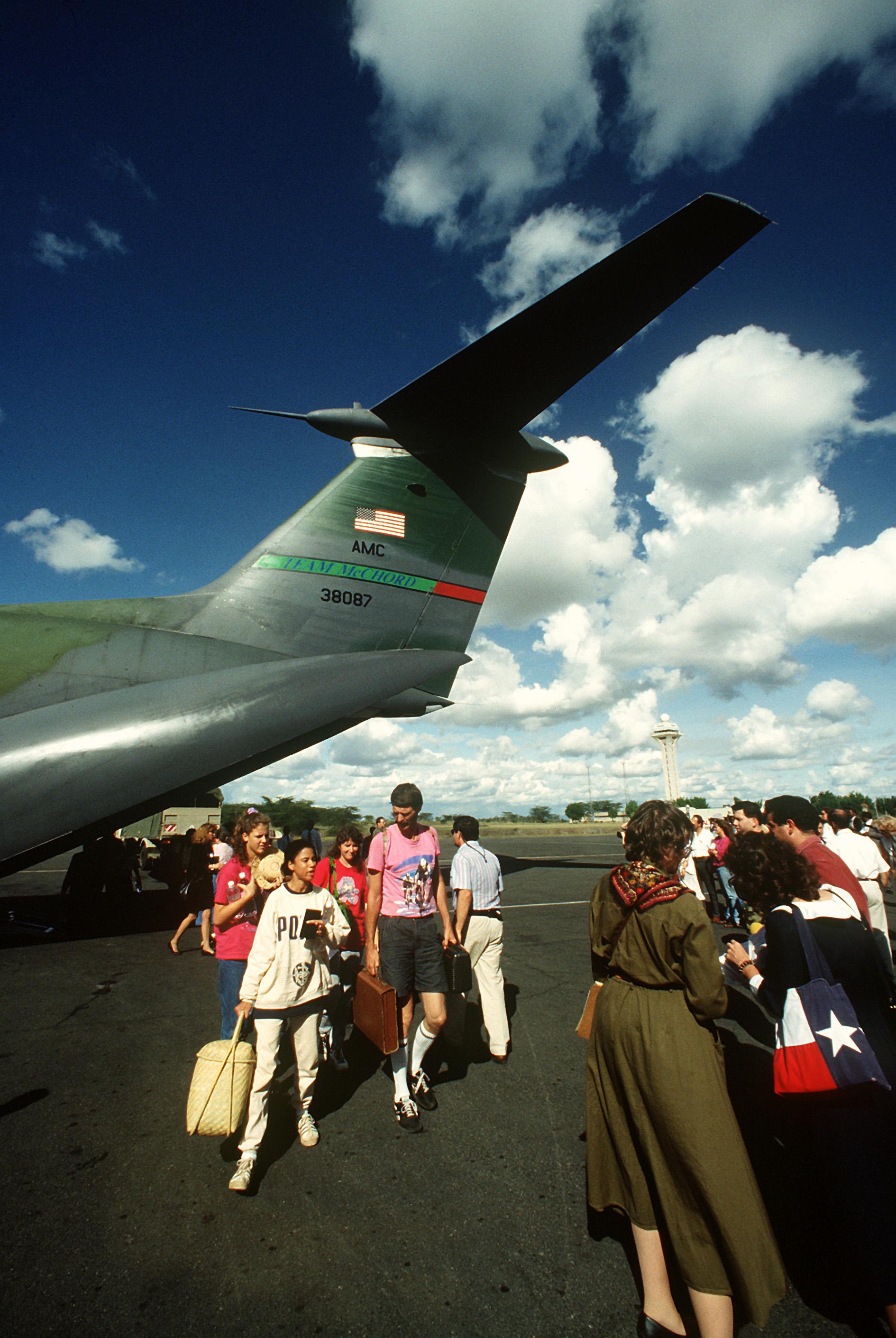 File:This C-141 flight from Bujumbura, Burundi took on passengers who were