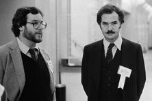 Tony Bove (left) with [[Adam Osborne]], 1983