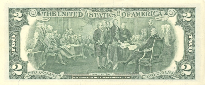 United States two-dollar bill (reverse)