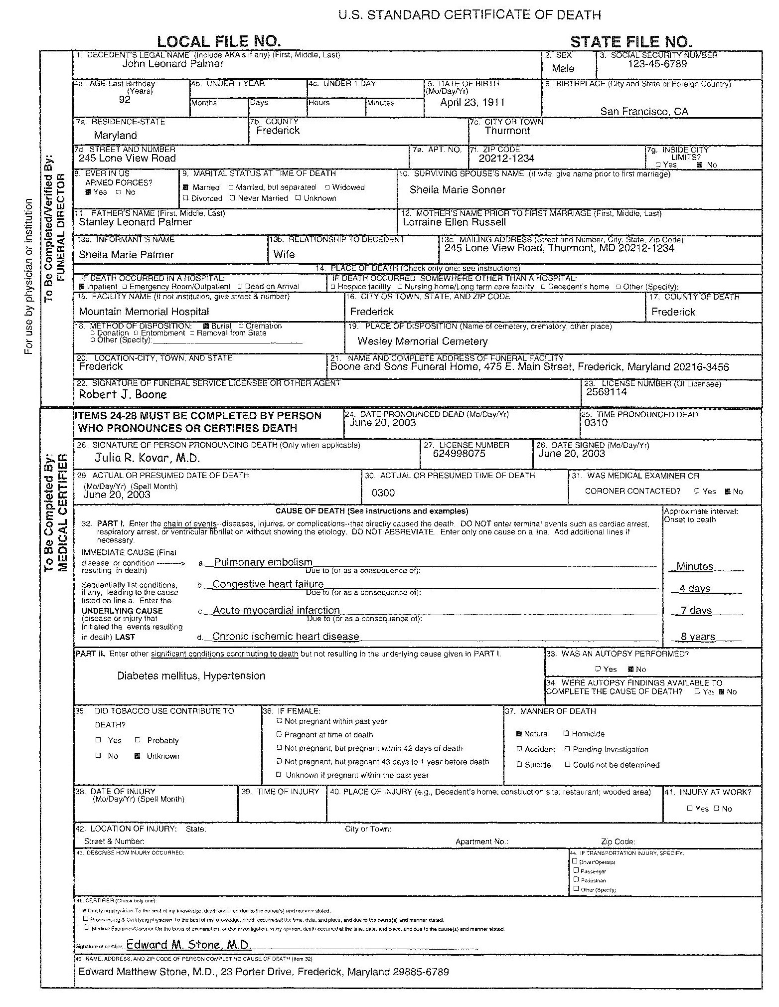Sample Of Death Certificate Zrom