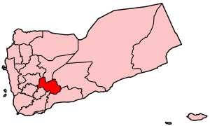 Map o Yemen showin Al Bayda govrenorate.