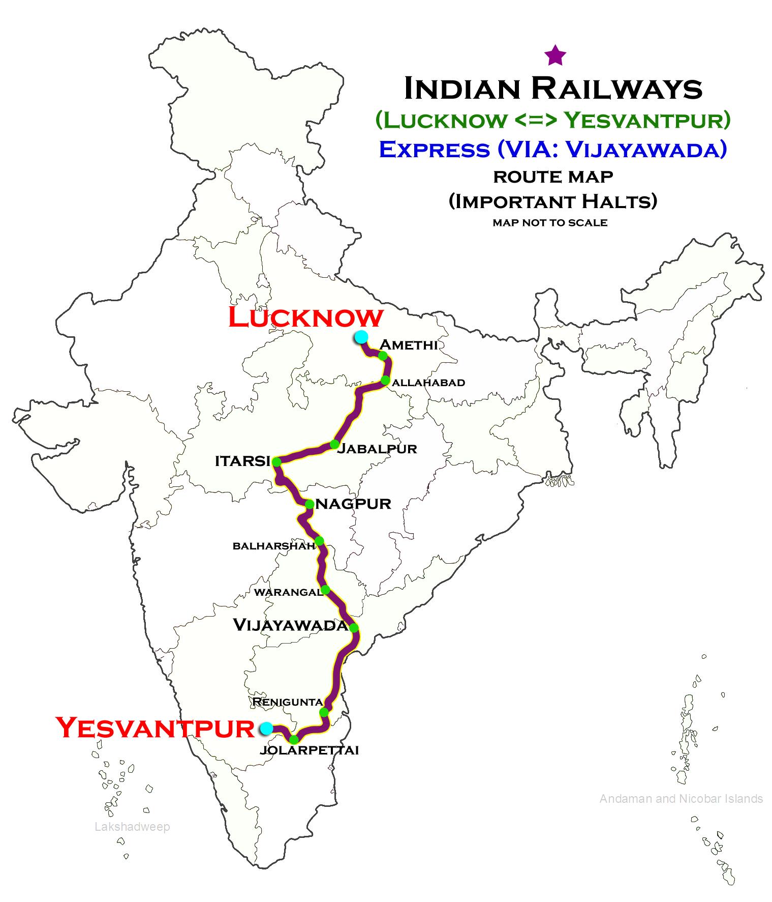 Lucknow Metro Map.Yesvantpur Lucknow Express Via Vijayawada Wikipedia