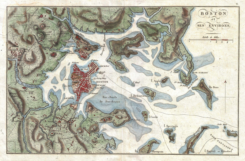 File Buache Map Of Boston Massachusetts Geographicus - Map of boston vicinity