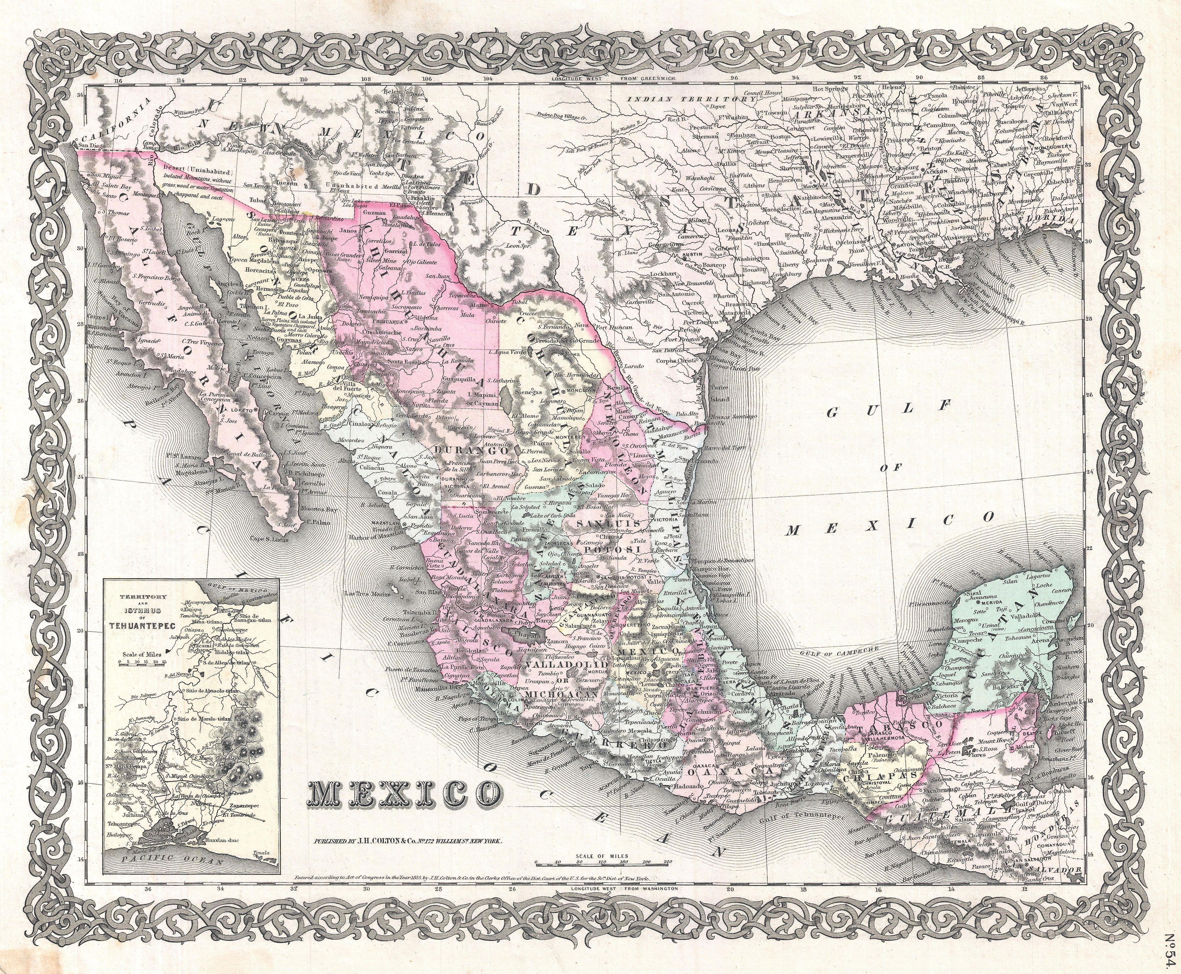 File:1855 Colton Map of Mexico - Geographicus - Mexico-colton-1855.