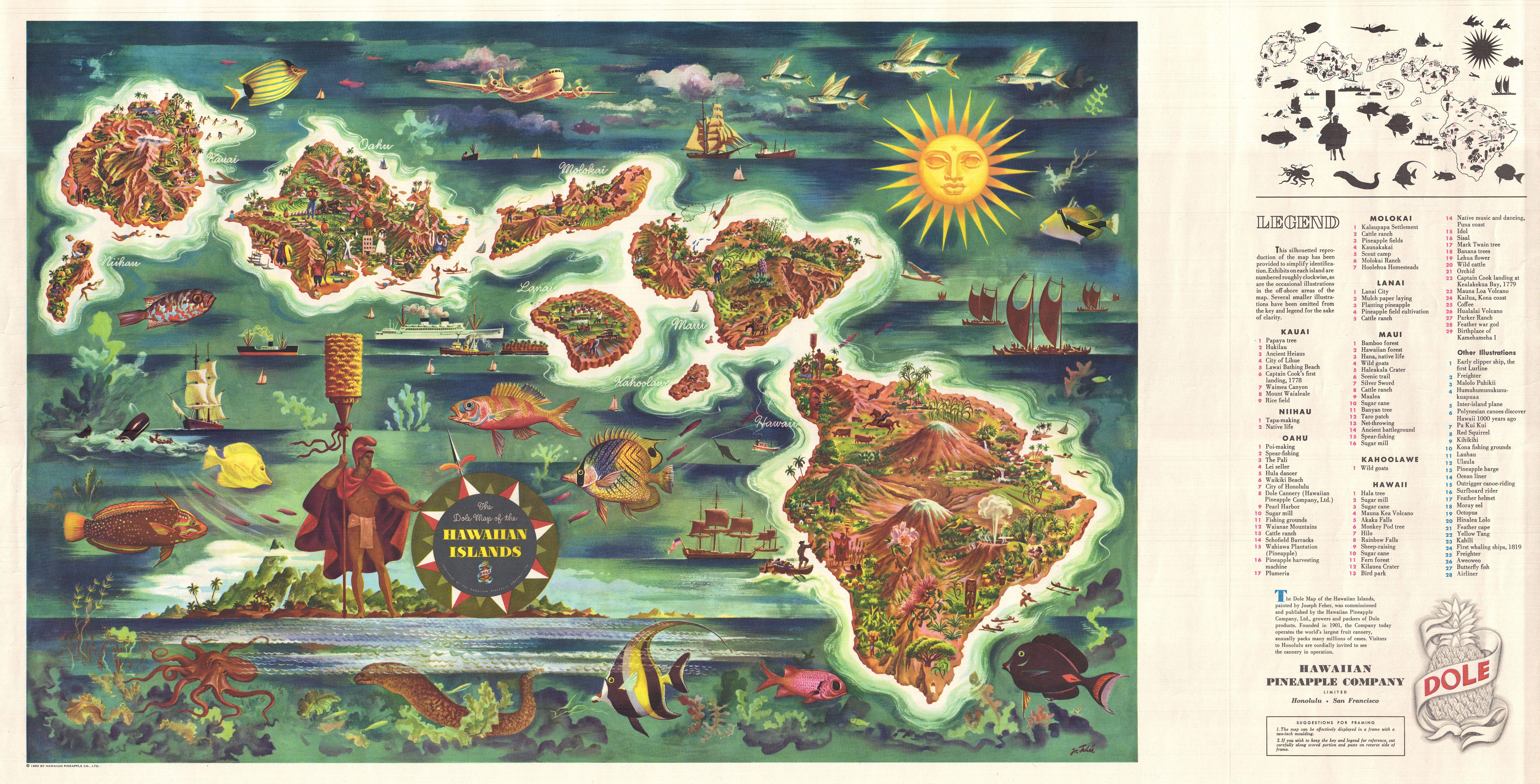 File1950 Joseph Feher Dole Map Of Hawaii  Geographicus