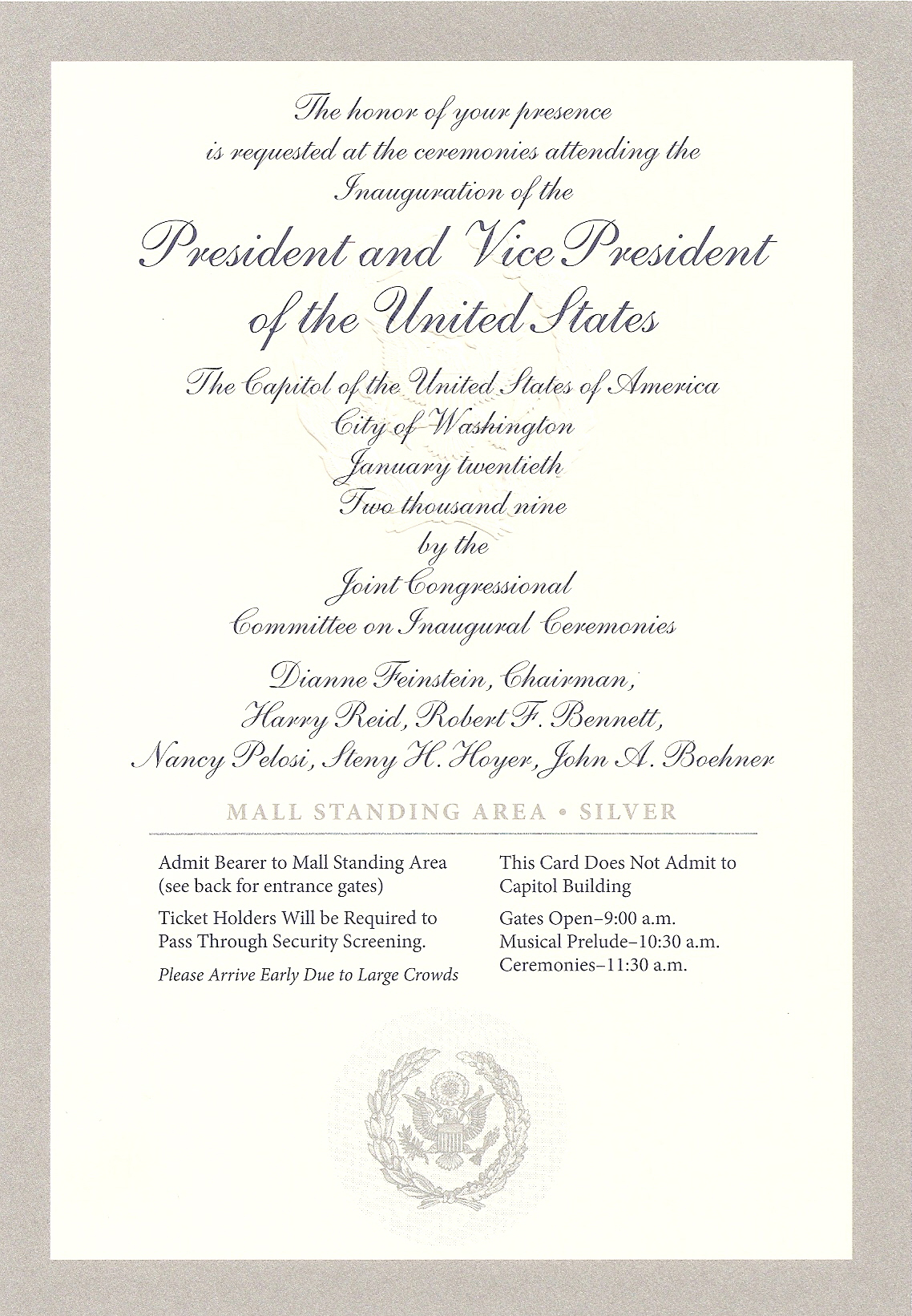 Silver-bordered ticket with silver cursive lettering to the inauguration of Barack Obama for the National Mall standing area with a silver presidential seal on the bottom.