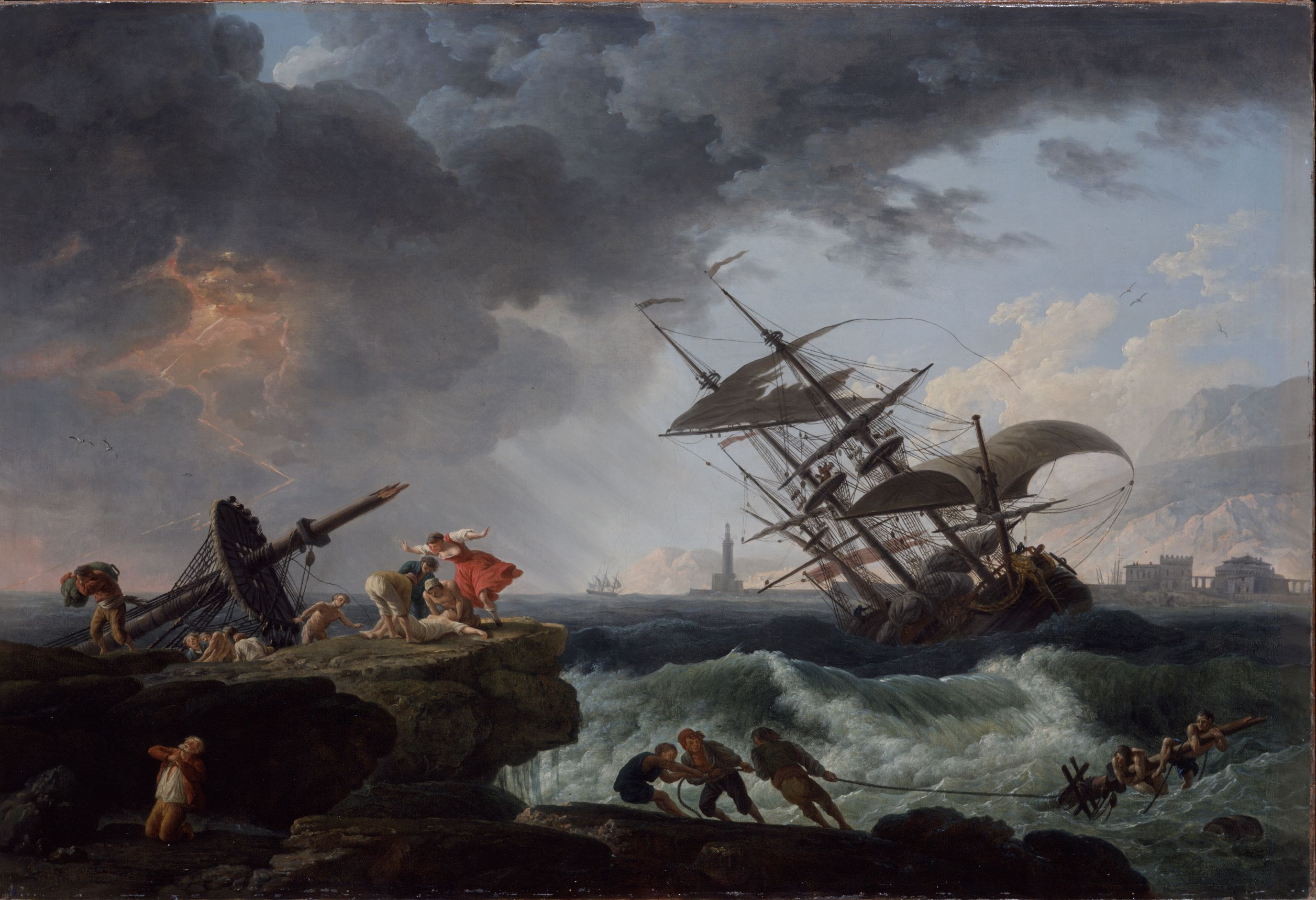 claude joseph vernets shipwreck In brilliant detail, claude-joseph vernet captured the gorgeous weather and leisurely activities of a day by the sea fishermen clean the day's catch on a stone pier while several people.