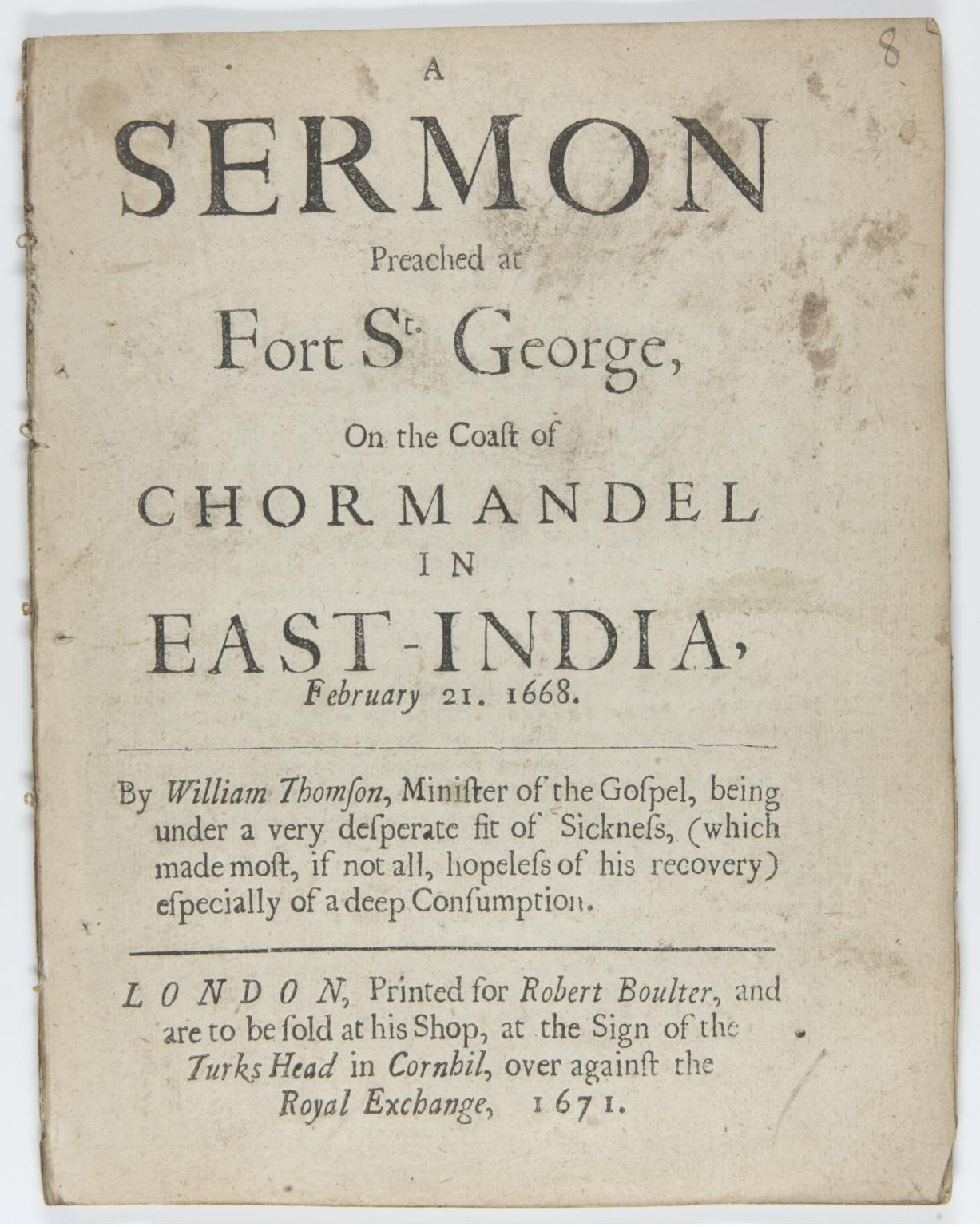 A sermon preached at Fort St. George on the coast of Chormandel in East India, February 21 1668.jpg
