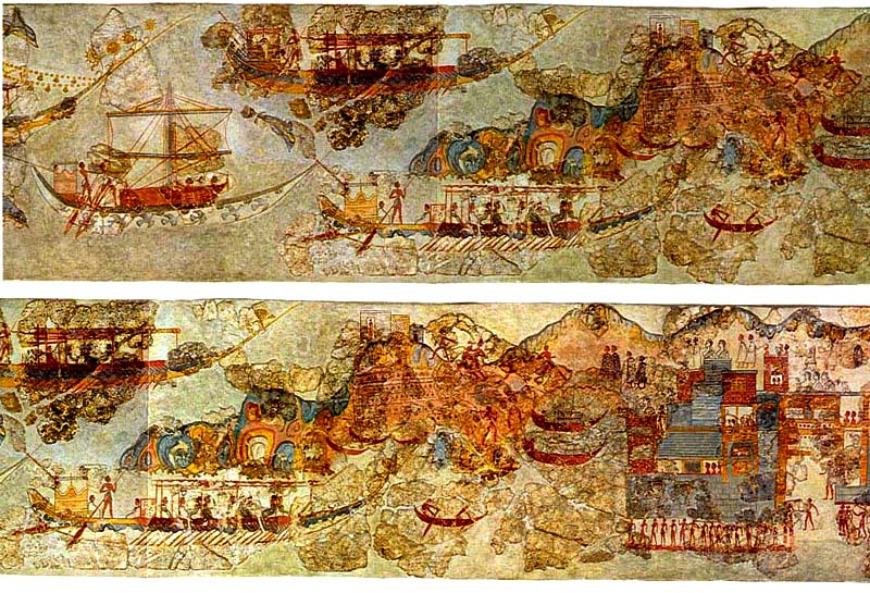 File akrotiri ship procession full wikimedia commons for Egyptian fresco mural painting