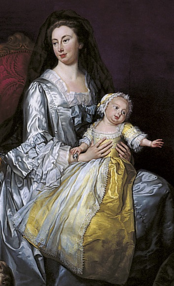 Caroline Matilda in her mother's arms, detail from George Knapton's 1751 group portrait The Children of Frederick, Prince of Wales. Augusta and Caroline Matilda.jpg