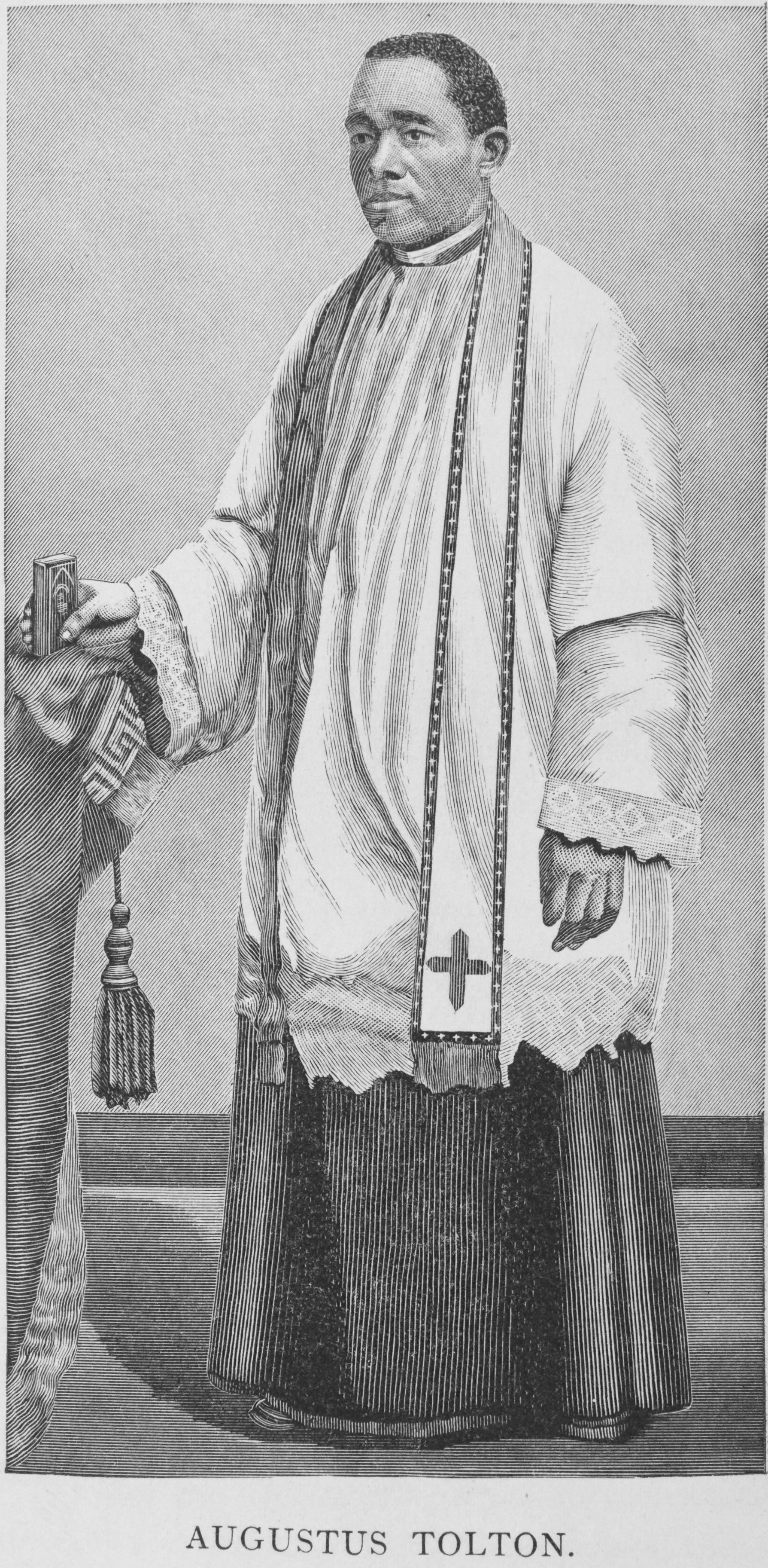 Father Augustus Tolton black and white picture in priest vestments