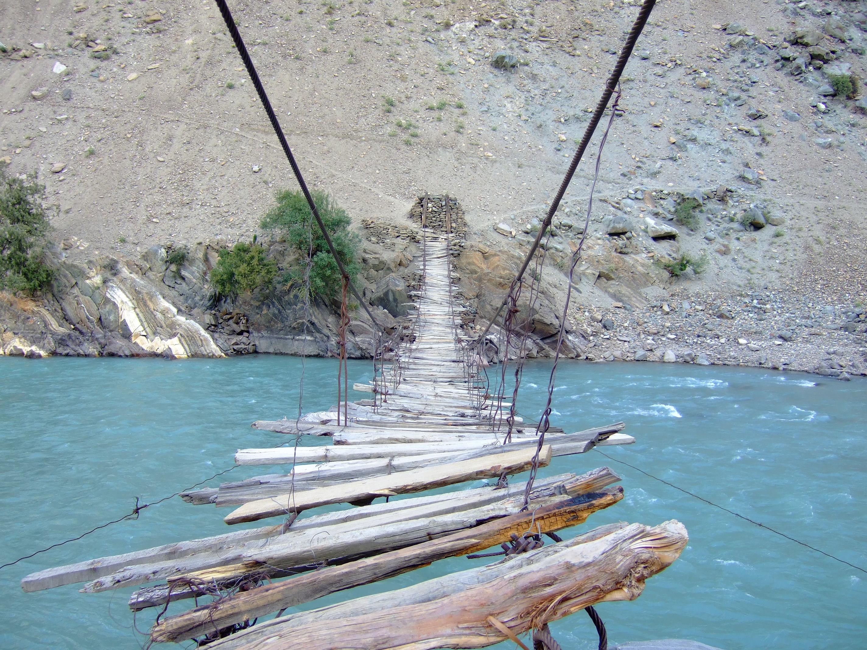 Primitive suspension bridge over the River Astore
