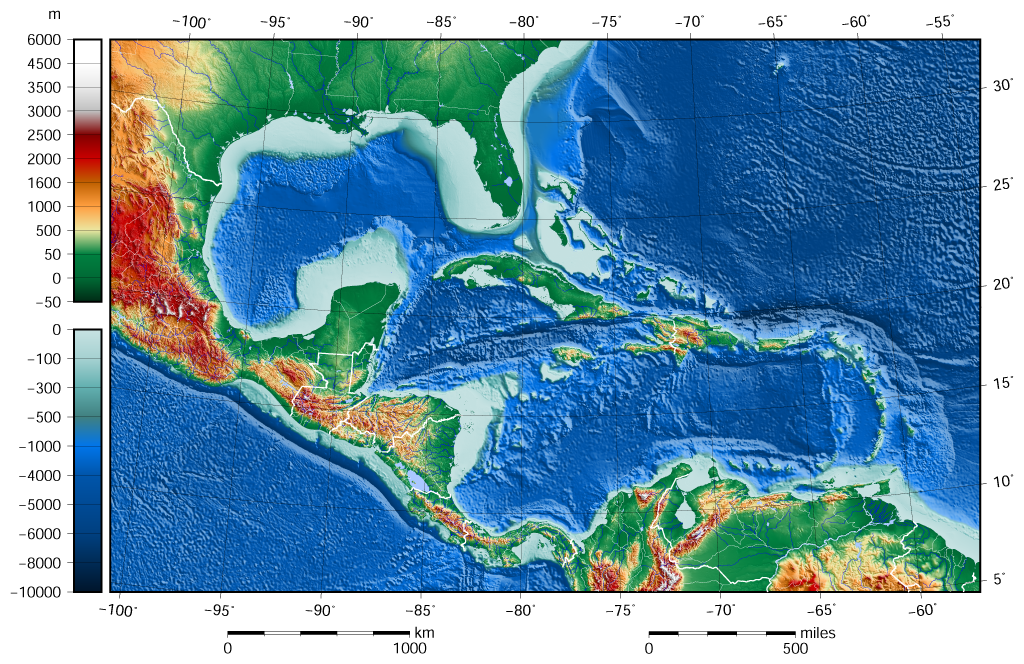 File:Caribbean Sea Gulf of Mexico shaded relief bathymetry land map ...
