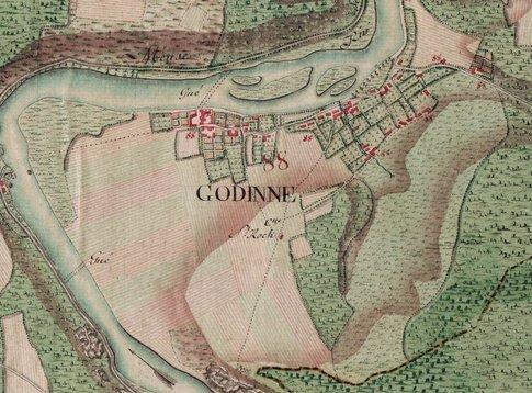 La carte de Ferraris est une carte historique des Pays-Bas autrichiens établie entre 1770 et 1778. Il s'agit de la première cartographie systématique et à grande échelle, aussi bien en «Belgique» que dans toute l'Europe occidentale. On y voit ici un extrait de Godinne.
