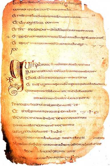 """Seite aus dem Buch """"Cathach"""", bei dem es sich um den von St. Columba widerrechtlich kopierten Psalter handeln soll. (Quelle: Wikipedia/Wikicommons)"""