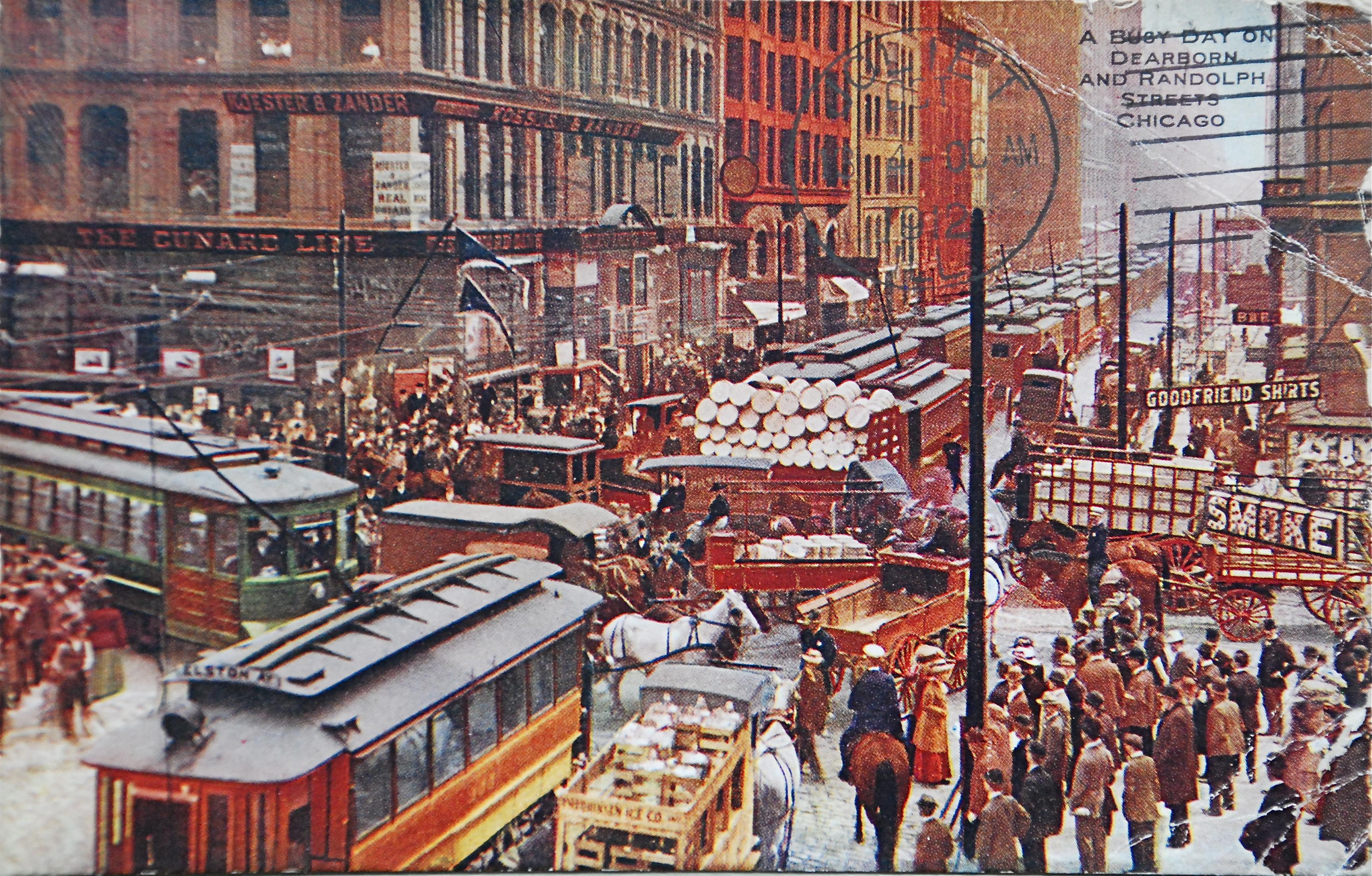 Loop street scene in 1900; colorized photograph