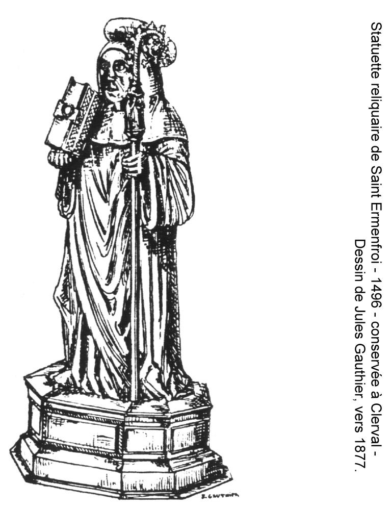 File dessin de la statuette reliquaire de saint ermenfroi de la chapelle de santoches 1496 - Dessin de saint ...