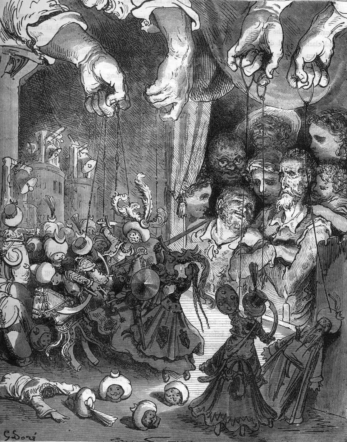 El libreto de El retablo de maese Pedro está inspirado en un episodio de Don Quijote de La Mancha.
