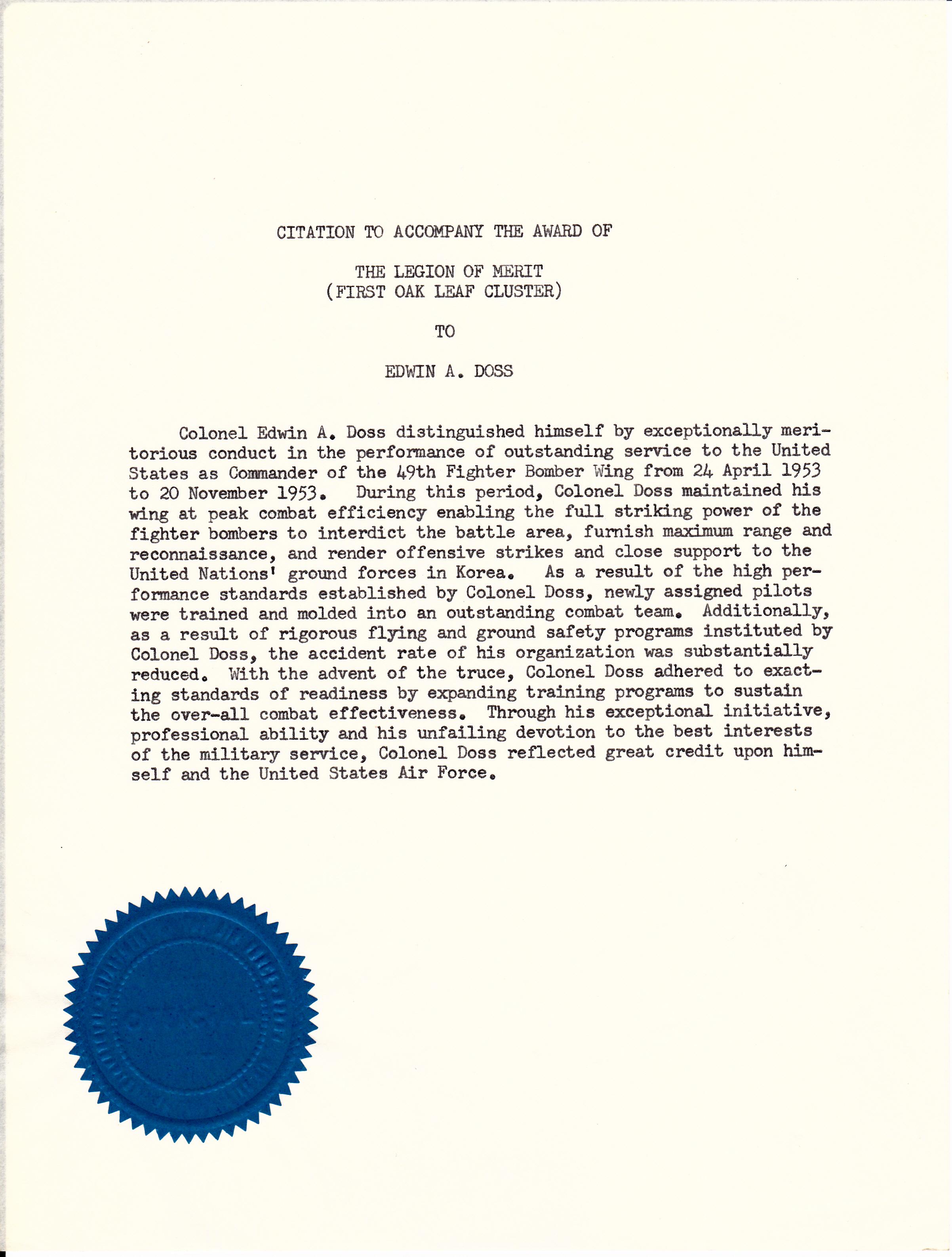 Legion of Merit Citation Example Legion of Merit Citation